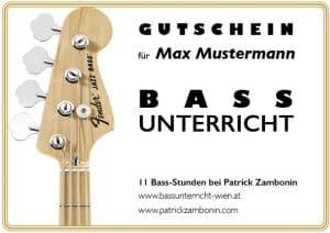 Bassunterricht Wien Gutschein Einzelunterricht 10er-Block