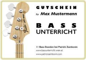 Bassunterricht Wien gutschein einzelunterricht 10er ermäßigt